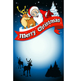 merry christmas frame with santa reindeer and snow vector image