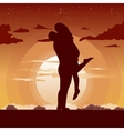 silhouette of loving couple in hug at sunset vector image