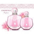 women perfume bottle with delicate flowers vector image