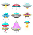 alien spaceships set ufo unidentified flying vector image vector image