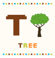 alphabet for children letter t and a tree vector image vector image