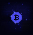 bitcoin symbol blue background vector image vector image