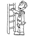 black and white man holding a ladder vector image