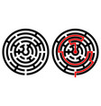 black round maze with solution with and without vector image vector image