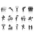 black working businessman icons set vector image vector image