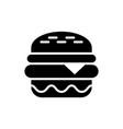 burger black icon on white background fastfood vector image