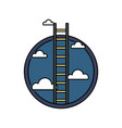 business success ladder to the sky retro colored vector image vector image