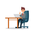 businessman working at the computer business vector image