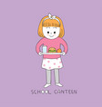 cartoon cute girl in school canteen vector image