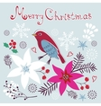 Christmas card with bird vector image vector image