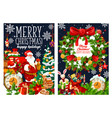 christmas santa with gifts bag greetings vector image vector image