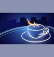 coffee shop neon sign glowing coffee cup vector image vector image