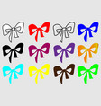 colorful bow on a white background vector image vector image