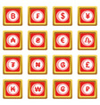 currency from different countries icons set red vector image vector image