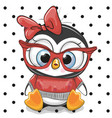 cute cartoon penguin with red glasses vector image
