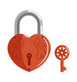 decorative lock in shape heart with pattern and vector image