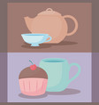 delicious cupcake with teapot and cup vector image vector image