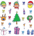 Doodle color christmas set object vector image vector image
