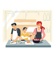 family cooking dinner at kitchen mother father and vector image