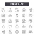 farm shop line icons signs set outline vector image