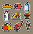 food and grocery stickers vector image vector image