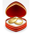 gold wedding rings with heart shaped box eps10 vector image