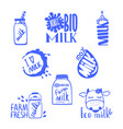 hand drawn milk labels for your design blue logo vector image