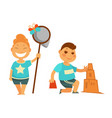 happy children play outdoor in sand and with vector image