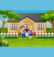 happy school children in front house yard vector image vector image