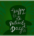 happy st patrick s day lettering with leprechaun vector image vector image