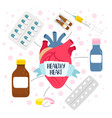 heart medicine health vector image