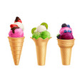 ice cream with fruits realistic set vector image vector image
