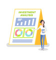 investment analysis woman with clipboard info vector image vector image
