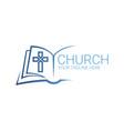 logo christian abstract cross in book church vector image