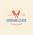 meat logo logo for cooking school class with icon vector image