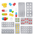 medicine pills capsules realistic images set vector image vector image