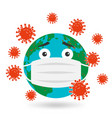 planet earth in protective mask against virus vector image