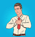 pop art sick man with chest pain heart attack vector image