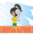 pretty woman athlete playing volleyball vector image