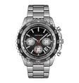 realistic wristwatch steel black luxury vector image vector image