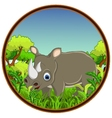 rhino with forest background vector image vector image