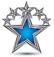Royal blue star with silver outline geometric five vector image vector image