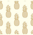 seamless golden pineapple pattern vector image vector image