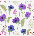 seamless pattern with anemones spring flowers and vector image vector image