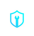 security service shield with wrench logo vector image