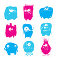 set of cartoon funny monsters vector image vector image