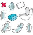 set of sanitary napkin vector image