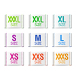Size clothing labels vector image vector image