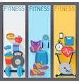 Sports vertical banners with fitness icons in flat vector image vector image