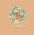 Tea traditions Tea leaves and tea mate vector image